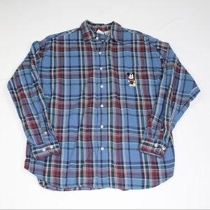 Vintage Disney Mickey Plaid Flannel Button Shirt